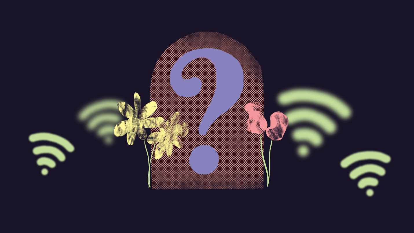An illustration of the Find A Grave logo with an orange textured tombstone and a big purple question mark, wilting flowers, and little green wifi signals floating around the grave marker