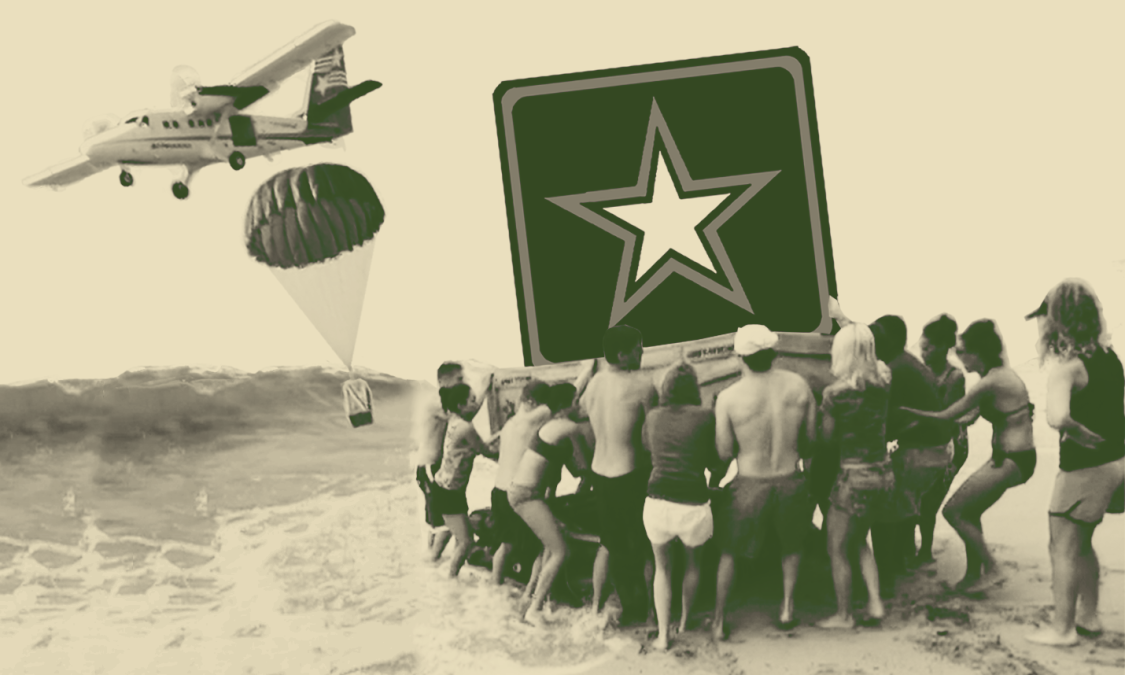 """A photo illustration of the cast of MTV's The Challenge: The Island lifting the U.S. Army logo star on a beach, under a plane dropping a U.S. Army """"air drop"""" supply crate"""