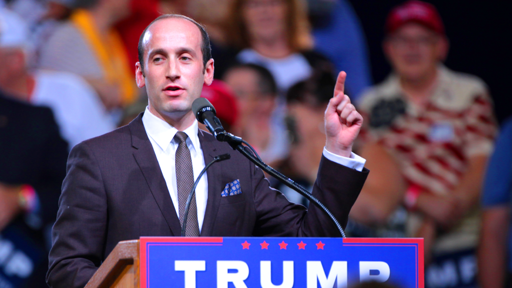 Stephen Miller speaking with supporters of Donald Trump at a rally at Veterans Memorial Coliseum at the Arizona State Fairgrounds in Phoenix, Arizona.