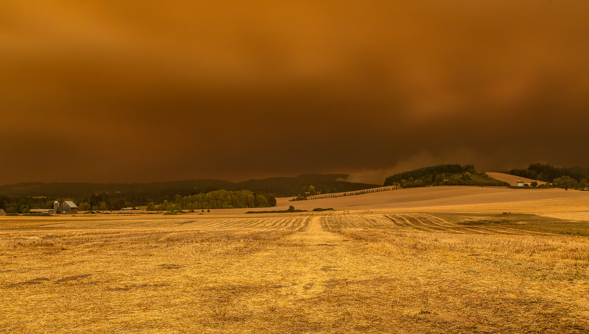 Smoke over the Chehalem Mountains in Western Oregon.