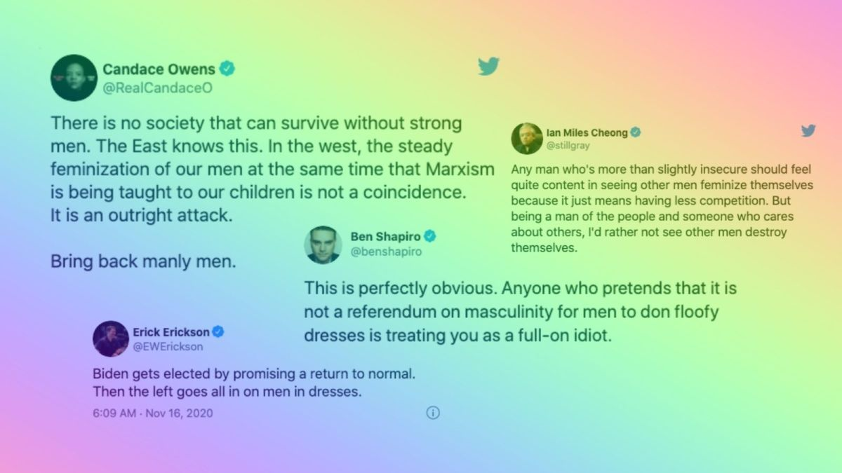 Tweets from Candace Owens, Ian Miles Cheong, Ben Shapiro, and Erick Erickson on Harry Styles in a dress on the cover of Vogue