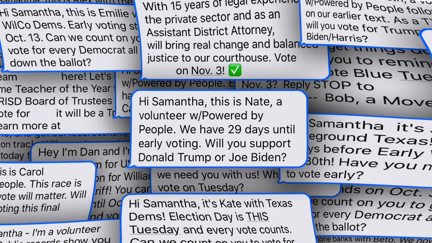 Warped iPhone style campaign texts from Texas Democrats, Battleground Texas, Powered by People, and other organizations asking me if I'll vote for Biden, or if I'll support the Democratic party