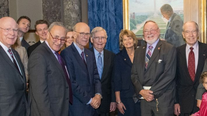 Senators including Patrick Leahy, Chuck Schumer, Pat Roberts, Mitch McConnell, Lisa Murkowski, Don Young, and Chuck Grassley