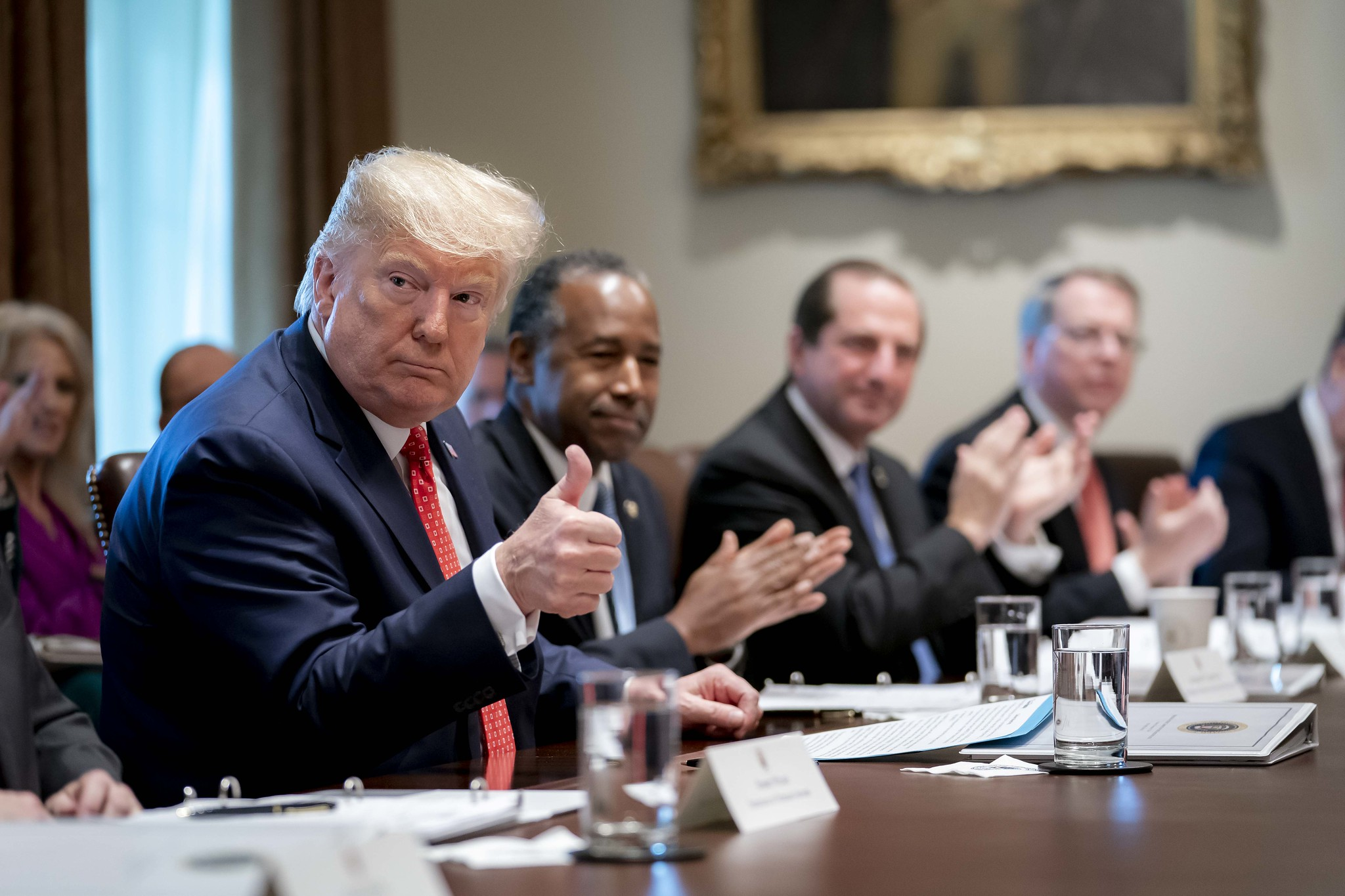 President Donald J. Trump in a Cabinet meeting Tuesday, Nov. 19, 2019, seated next to Ben Carson and Kellyanne Conway, among others.