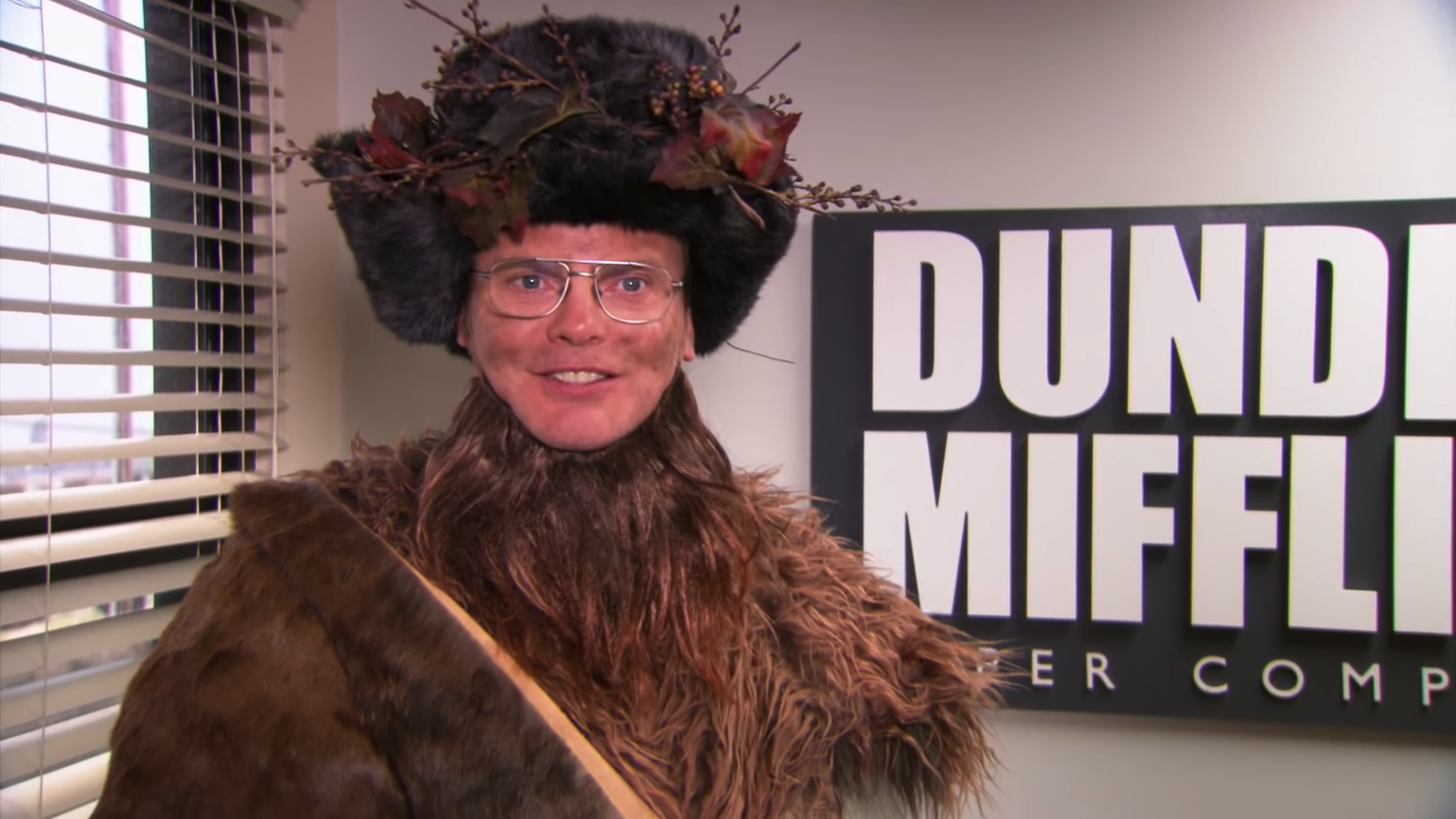 """Dwight Schrute from """"The Office"""" episode """"Dwight Christmas"""" dressed up as Belsnickel"""