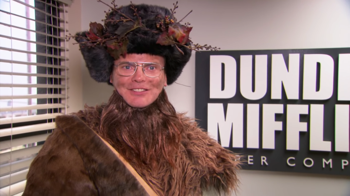 "Dwight Schrute from ""The Office"" episode ""Dwight Christmas"" dressed up as Belsnickel"