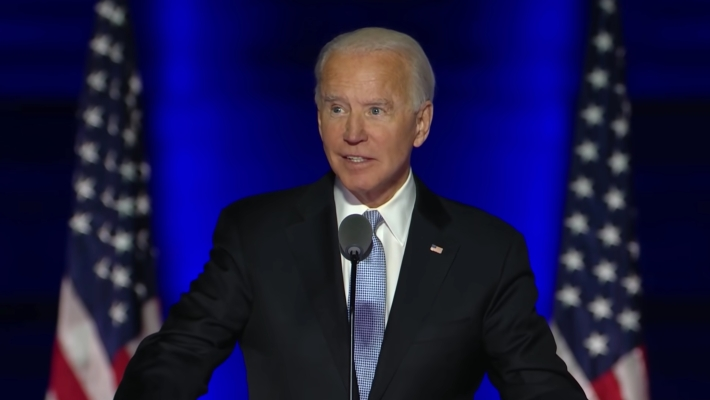 Joe Biden speaks after winning the 2020 presidential election