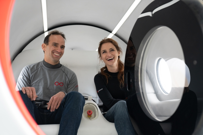 The first two passengers on Virgin's Hyperloop One.