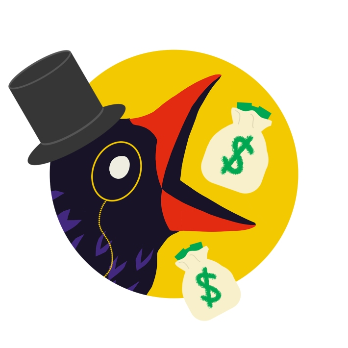 Discourse Blog oligarch bird with a top hat, monocle, and two money bags