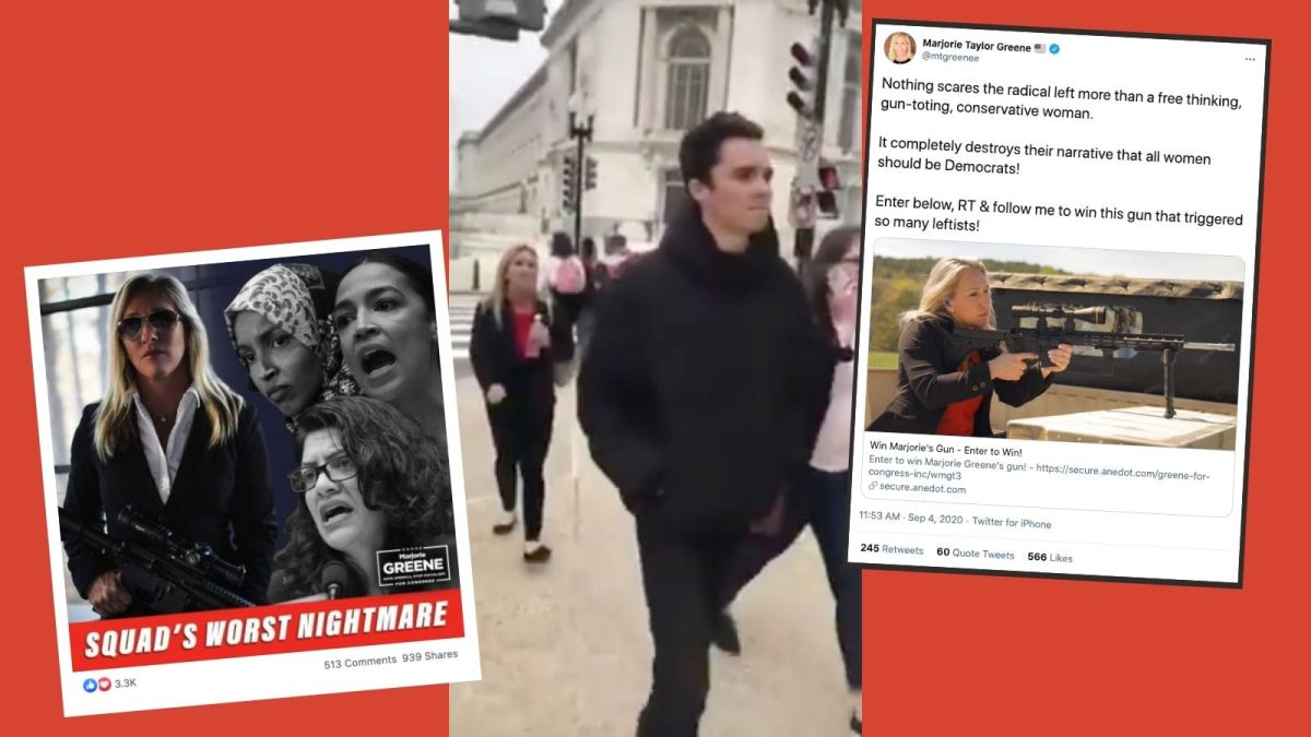 Screenshots of Marjorie Taylor Greene's Facebook post of her posing with a rifle with the squad, her harassing David Hogg near the US Capitol building, and a tweet to auction off her gun