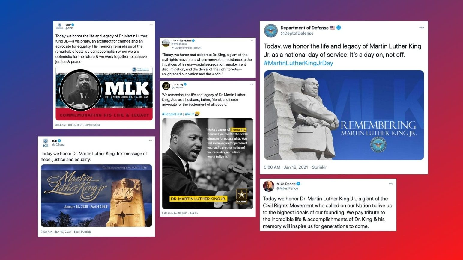 Martin Luther King Jr Day tweets by government accounts including the U.S. Army, ICE and the Department of Defense