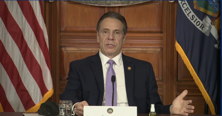 Andrew Cuomo at a news briefing on January 29.