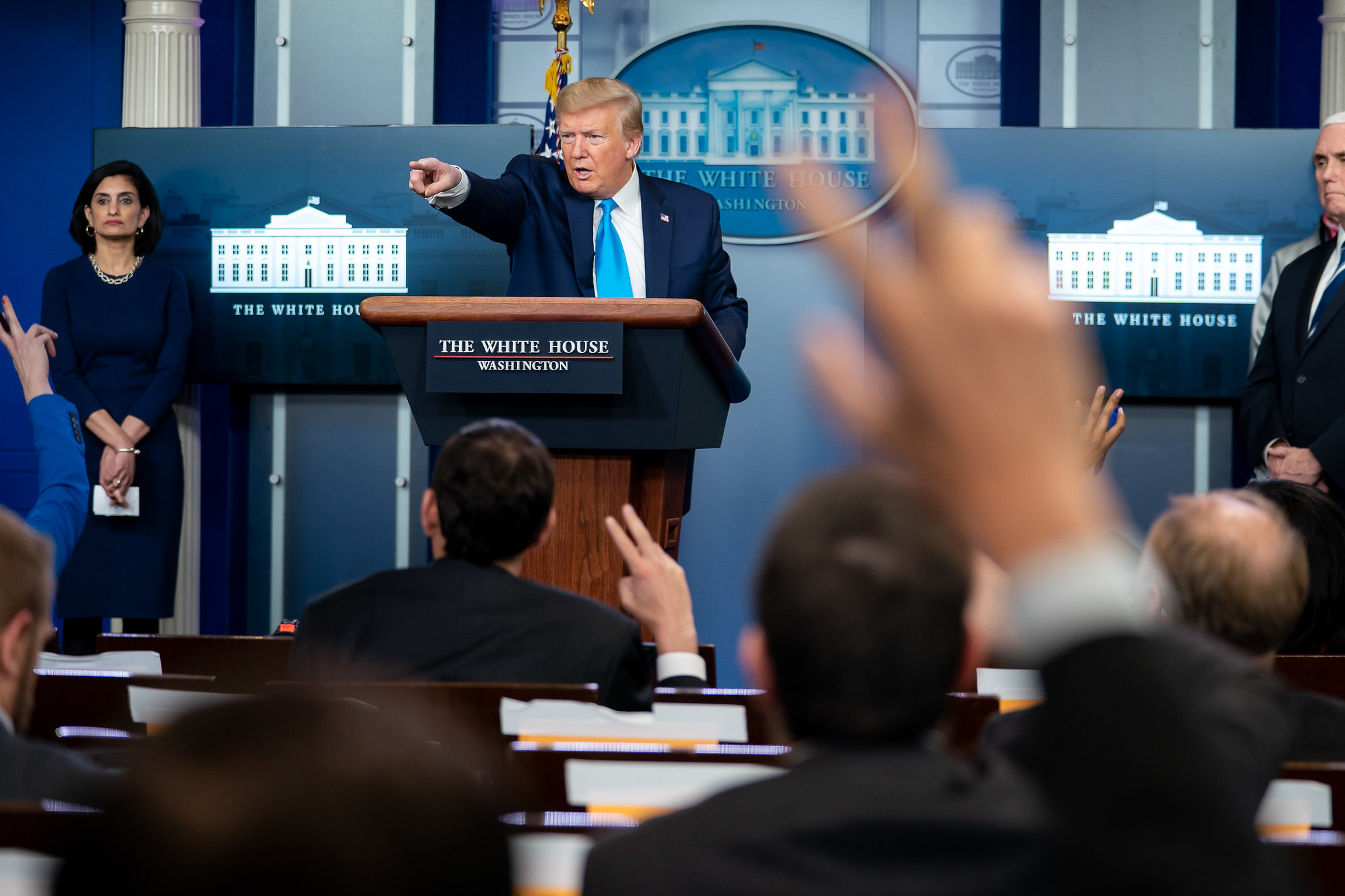 Donald Trump delivers remarks to the White House Press Corps