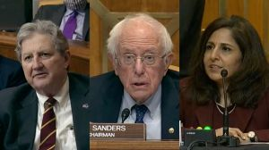 A collage of Sen. John Kennedy, Sen. Bernie Sanders, and OMB Director nominee Neera Tanden at Tanden's confirmation hearing.