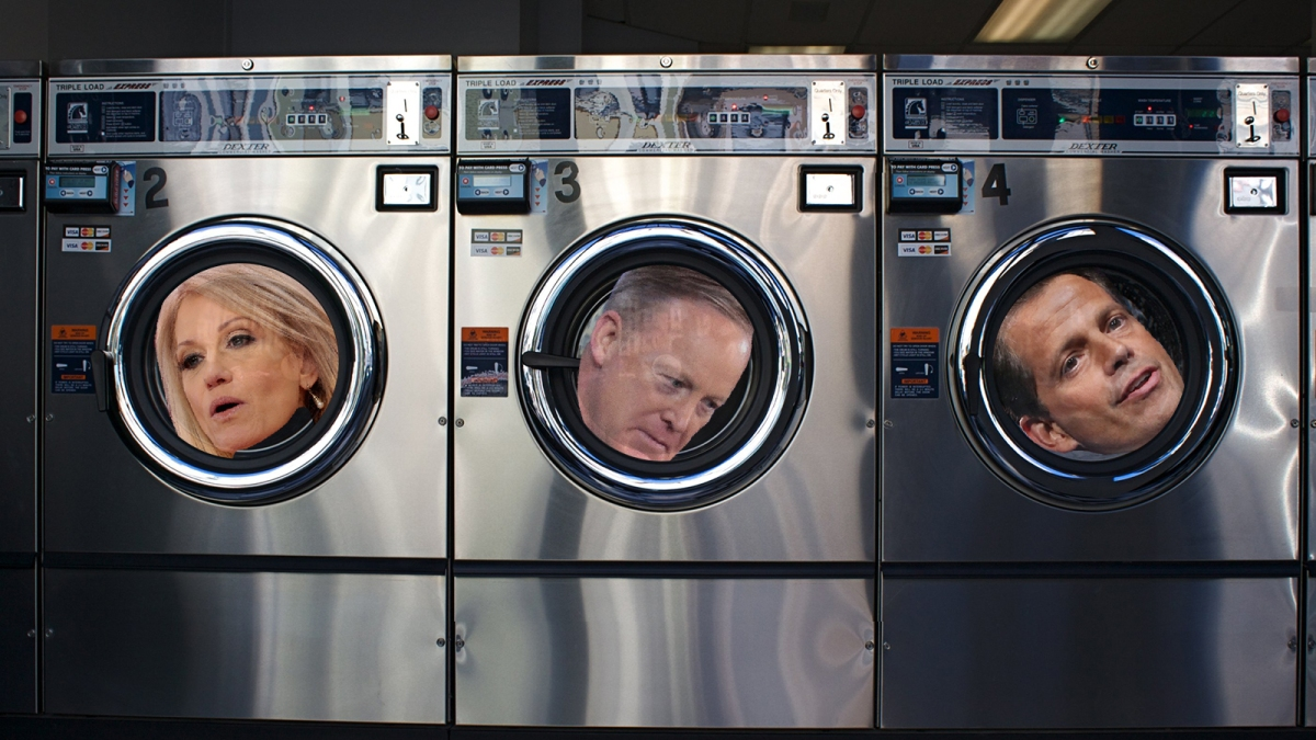 Kellyanne Conway, Sean Spicer, and Anthony Scaramucci's heads rolling in the windows of washing machines