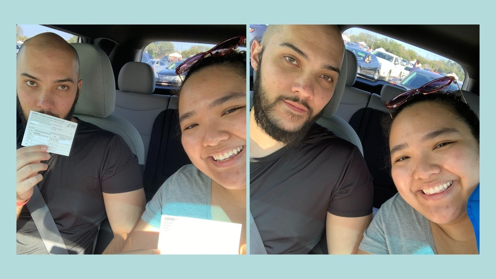 Sam and Christian holding up their CDC vaccine cards and smiling in two photos while sitting in a car