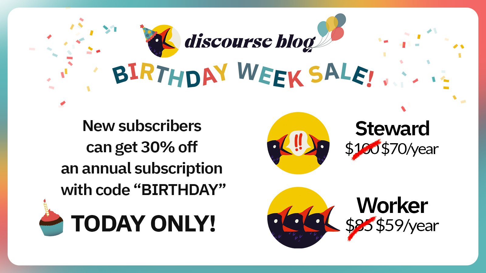 Graphic announcing that Discourse Blog is having a one-day sale