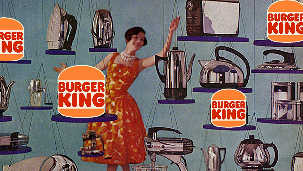 A woman from a vintage kitchen appliances ad looking at various shiny metal appliances suspended in the air, among them burger king logos