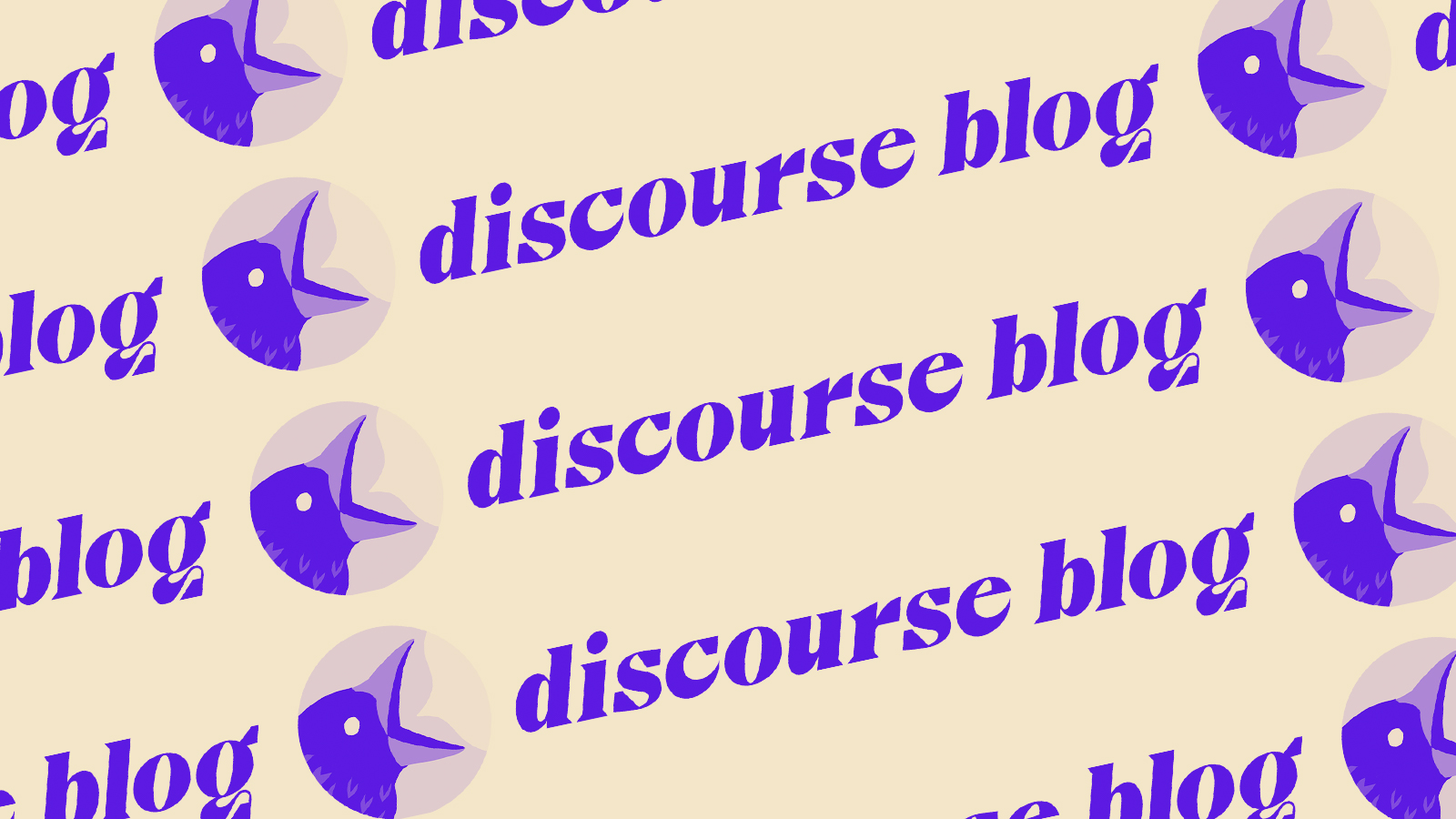 A pattern of the Discourse Blog logo with the bird icon