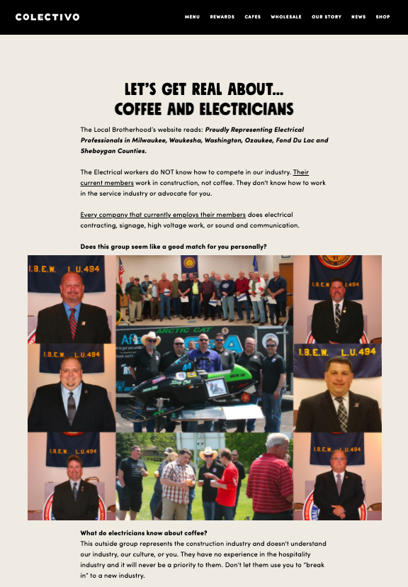 A screenshot from the Colectivo Coffee website detailing why electricians aren't a good fit to run the union of a coffee shop.