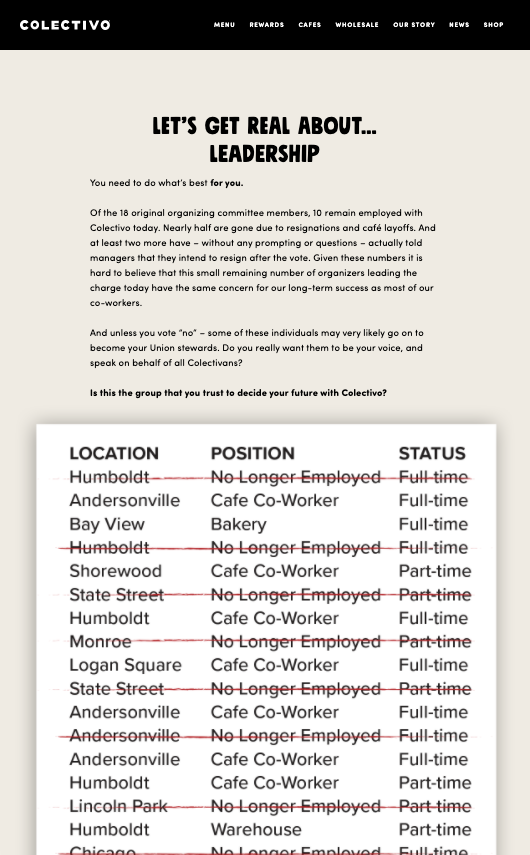 A screenshot from the Colectivo Coffee website crossing off the identities of workers with red ink and calling union organizers bad leadership.