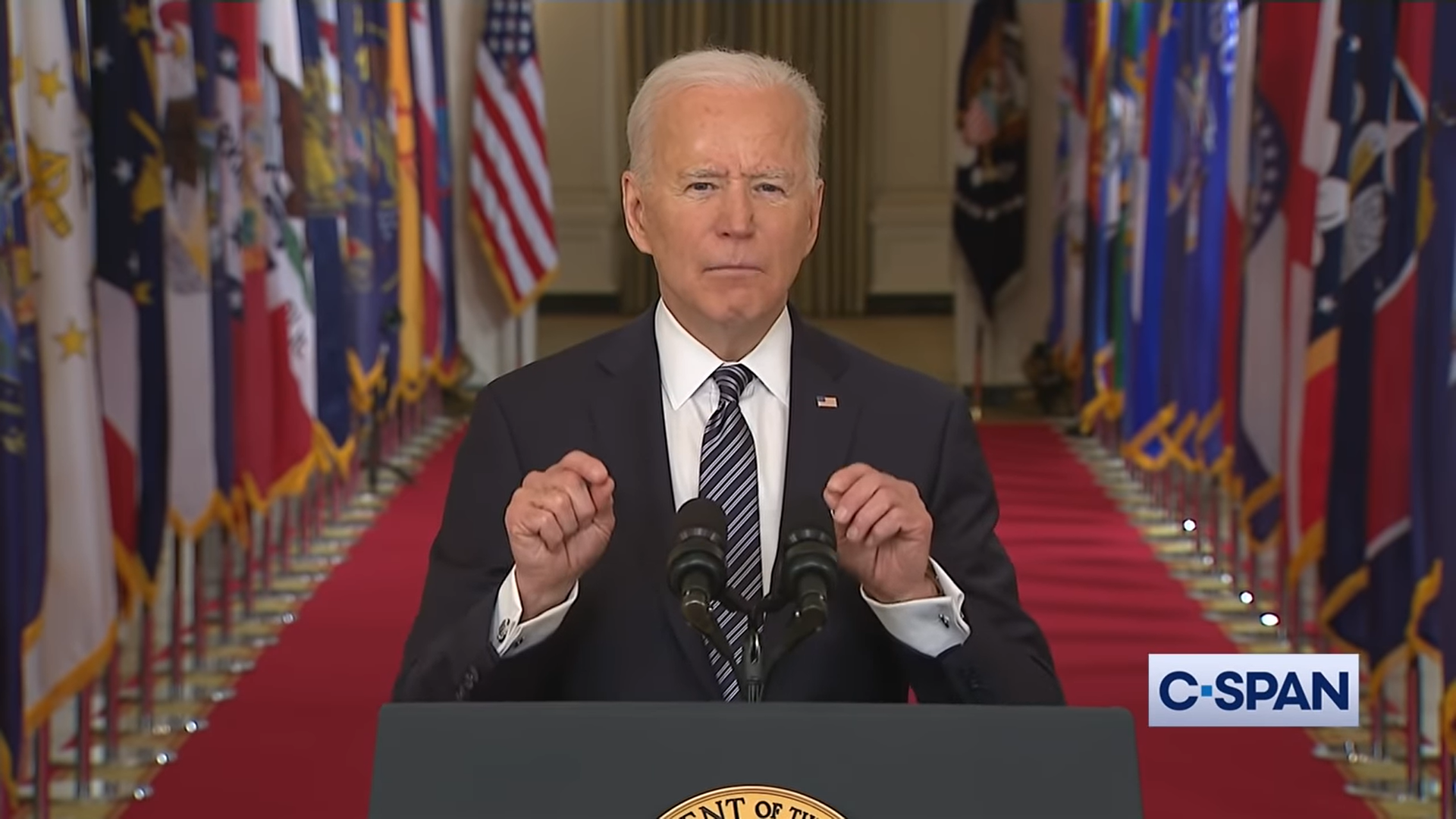 joe biden giving an address to camera