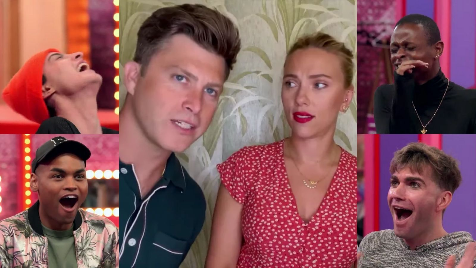 Colin Jost jumping into frame during Scarlett Johansson's appearance of 'Ru Paul's Drag Race,' with Gottmik, Olivia Lux, Symone and Rosé laughing at his cameo