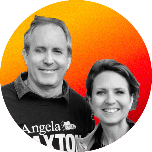 A profile photo of Texas Attorney General Ken Paxton and Texas Sen. Angela Paxton in front of a yellow-to-red gradient background