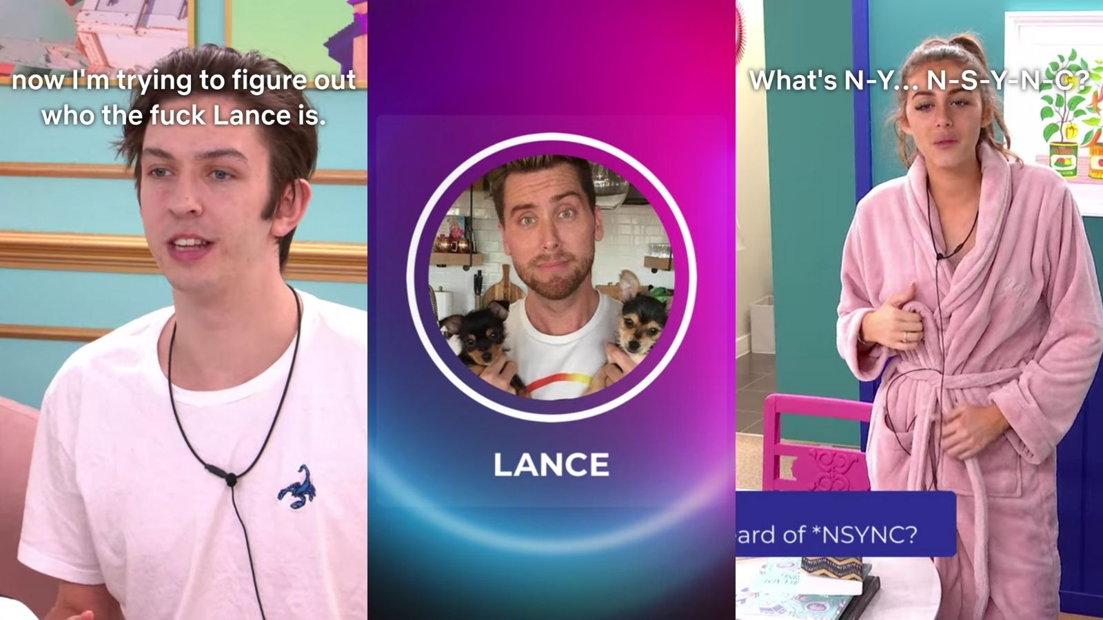 Jack, Lance Bass, and Chloe from the second season of 'The Circle,' the former and latter wondering aloud who 'Lance' and 'NSYNC' are