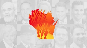 A graphic of the state of Wisconsin on fire, in front of 10 of the state's worst politicians