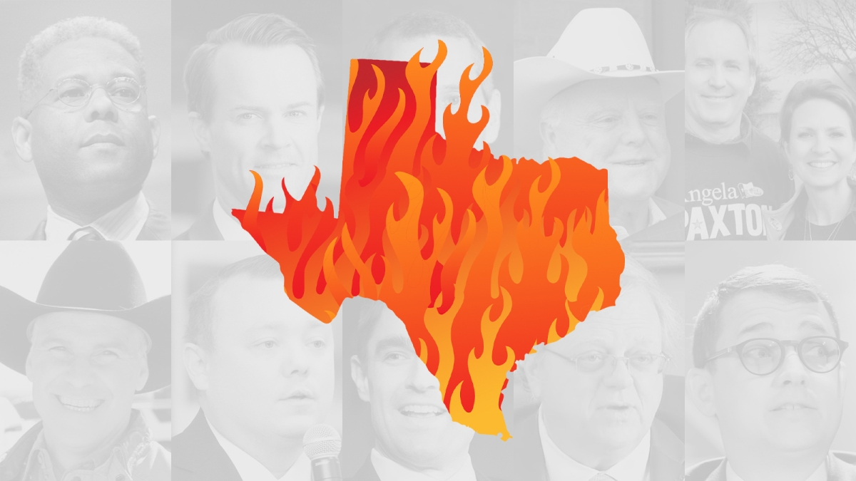 A graphic of the state of Texas filled with flames in the foreground, with photos of these politicians in the background in grey and white: Allen West, Briscoe Cain, Dade Phelan, Jeff Leach, Ken and Angela Paxton, Kyle Biedermann, Matt Mackowiak, Matt Schaefer, Paul Bettencourt and Sid Miller