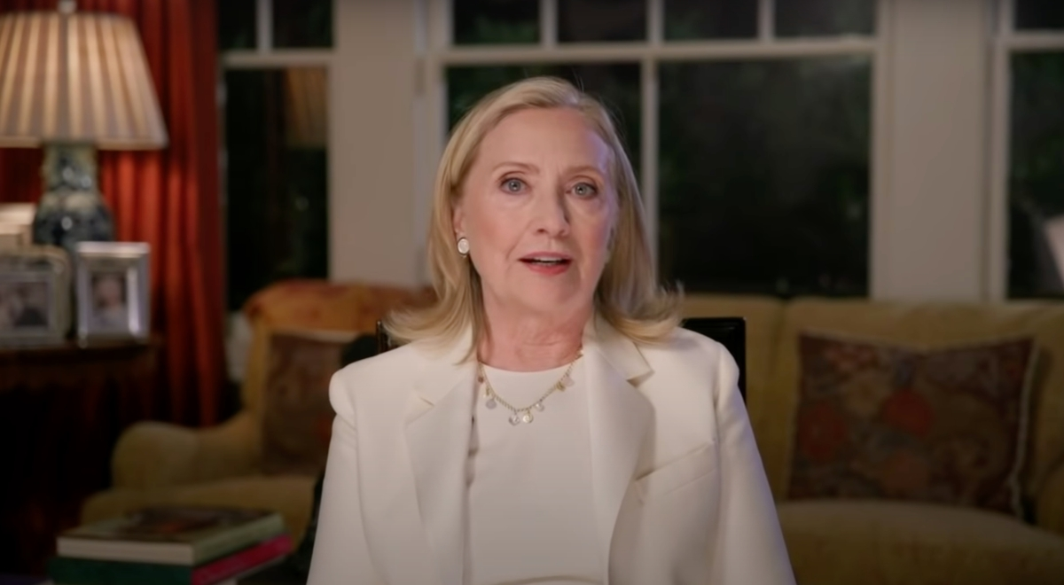 Hillary Clinton speaking at the 2020 DNC