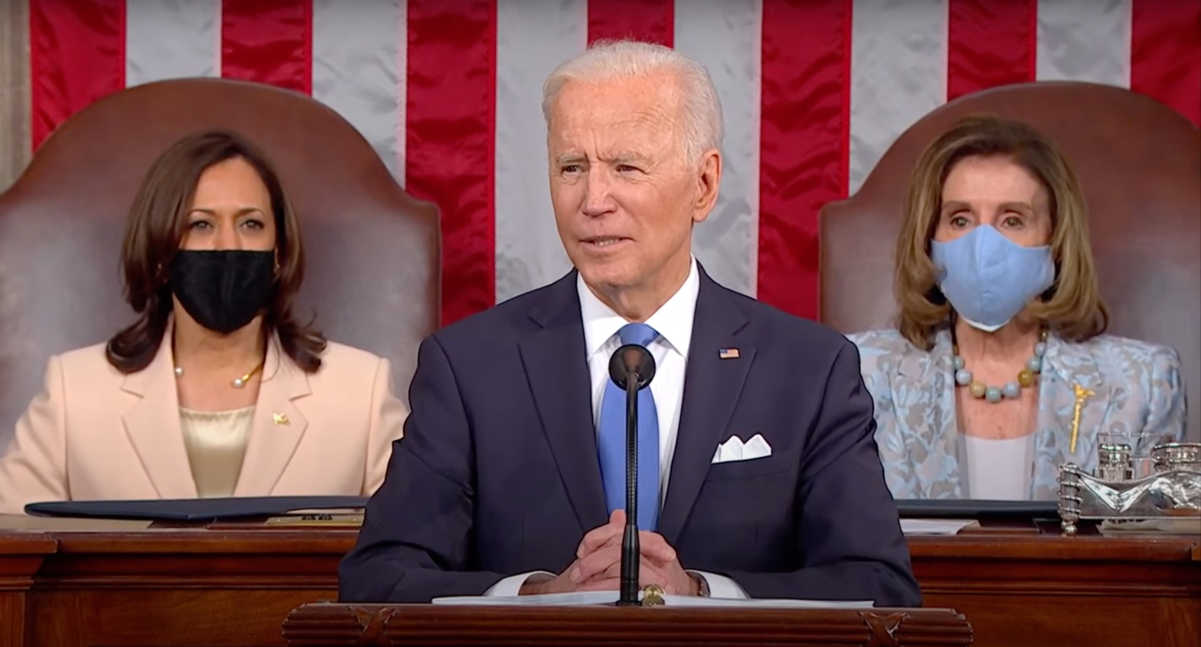 Joe Biden gives his first joint address to Congress at the Capitol building.