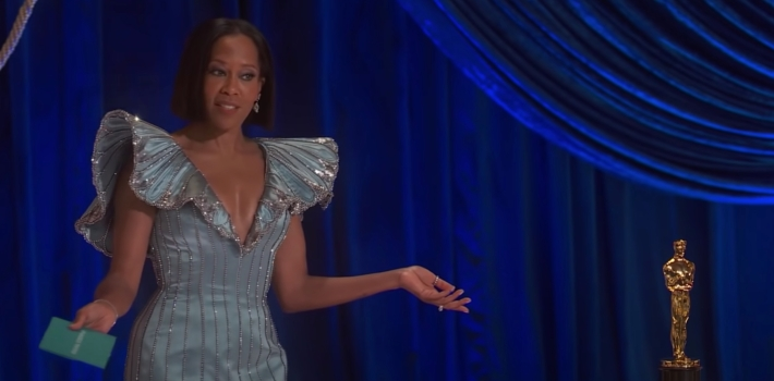 Regina King presents an award at the 2021 Oscars