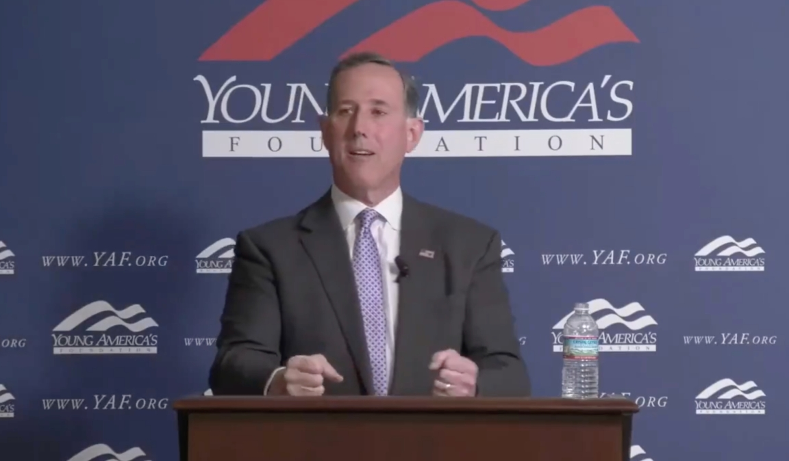Rick Santorum giving a speech at the Young America's Foundation