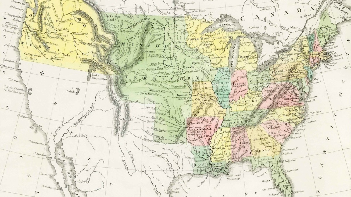 """A U.S. map titled, """"A Moral and Political Sketch of the United States of North America with a note on Negro Slavery, Junius Redivivus (1833) by Charles Louis Napoleon Achille Murat. Original from British Library. Digitally enhanced by rawpixel."""""""