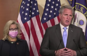 Kevin McCarthy and Liz Cheney speaking at a press conference