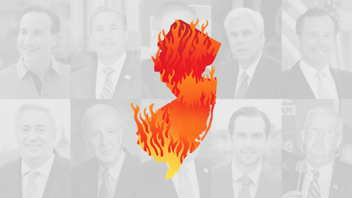 Photos of the worst politicians in New Jersey, behind an illustration of the state on fire