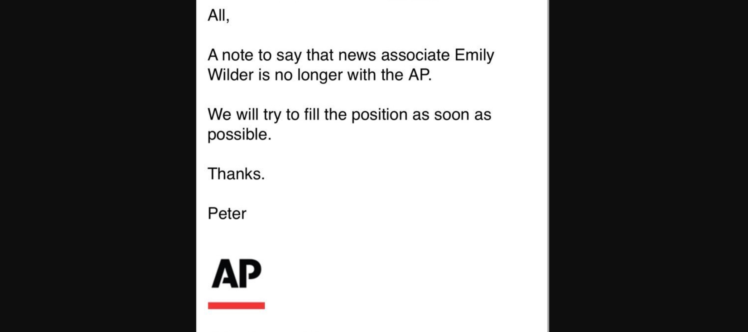 The note saying Emily Wilder had been fired