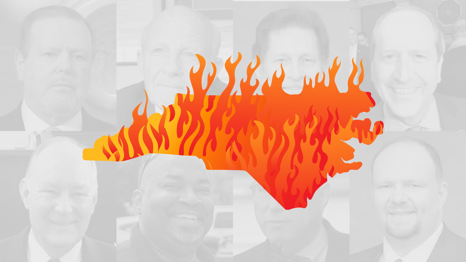 Illustrated art of the state of North Carolina on fire, for North Carolina's worst politicians