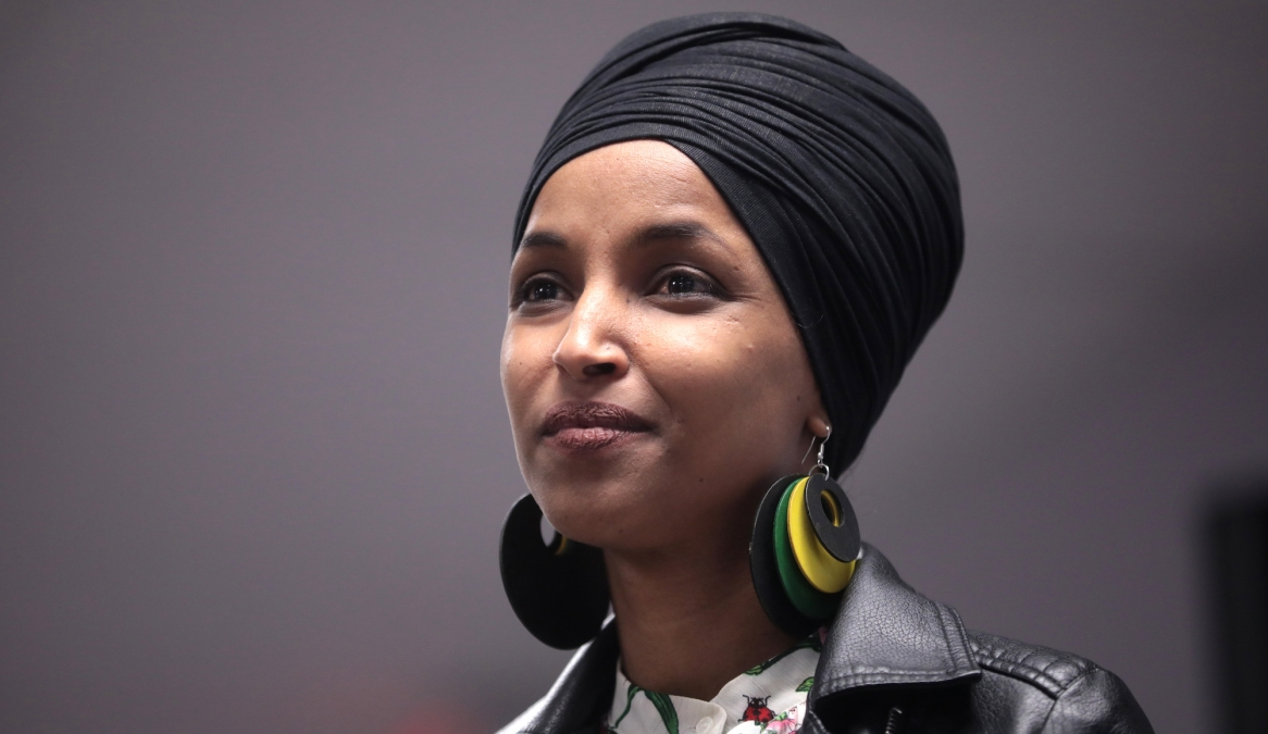 Ilhan Omar speaking at an event for Bernie Sanders in 2020