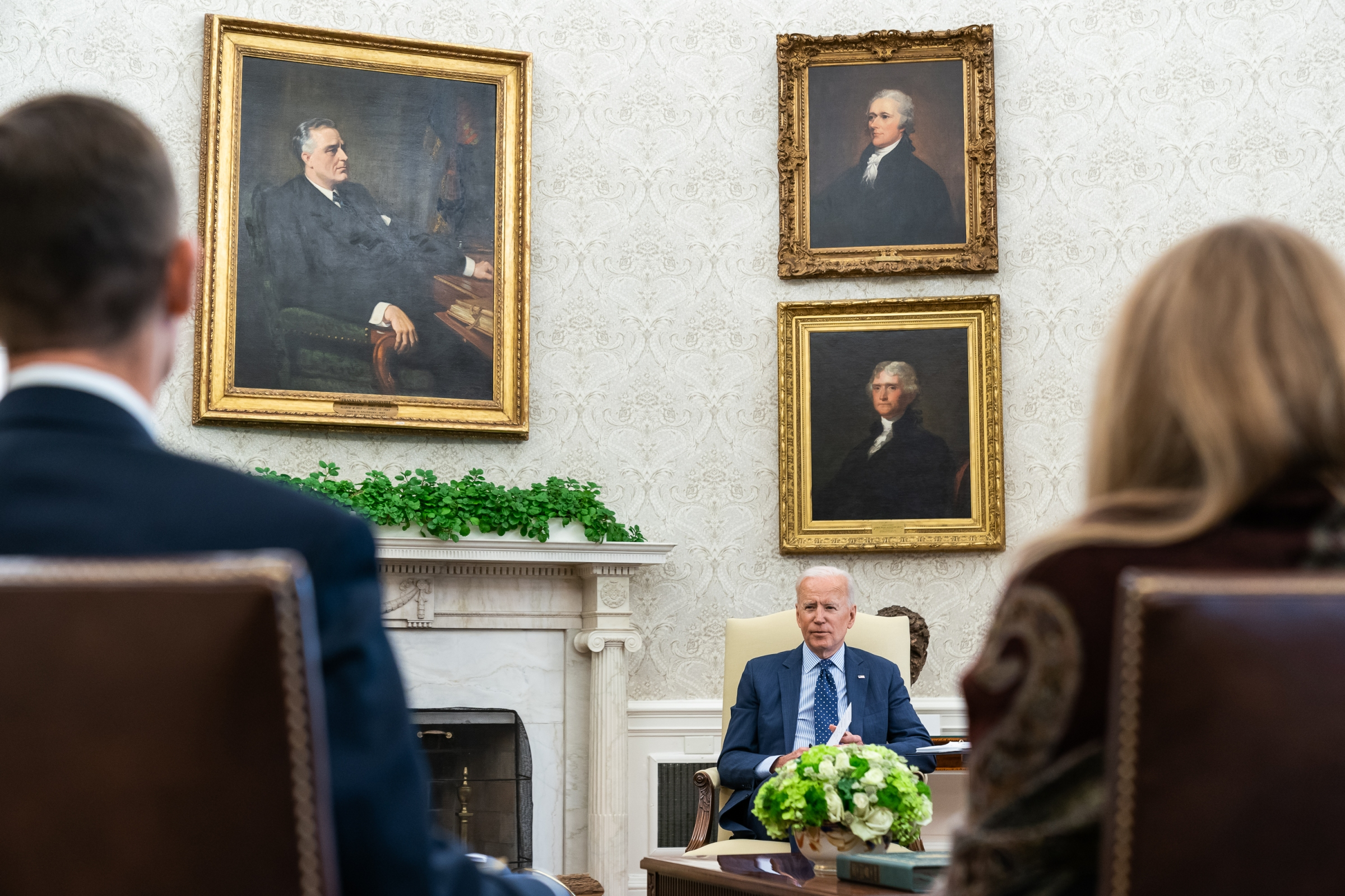 President Joe Biden meets with White House staff in the Oval Office of the White House on Wednesday, June 2, 2021, prior to his meeting with U.S. Senator Shelley Moore Capito, R-WV. (Official White House Photo by Adam Schultz)