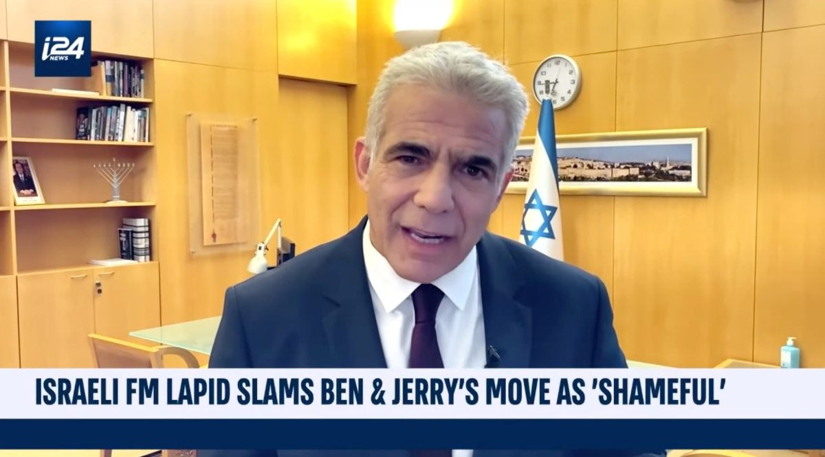 Israeli foreign minister Yair Lapid denouncing Ben and Jerry's