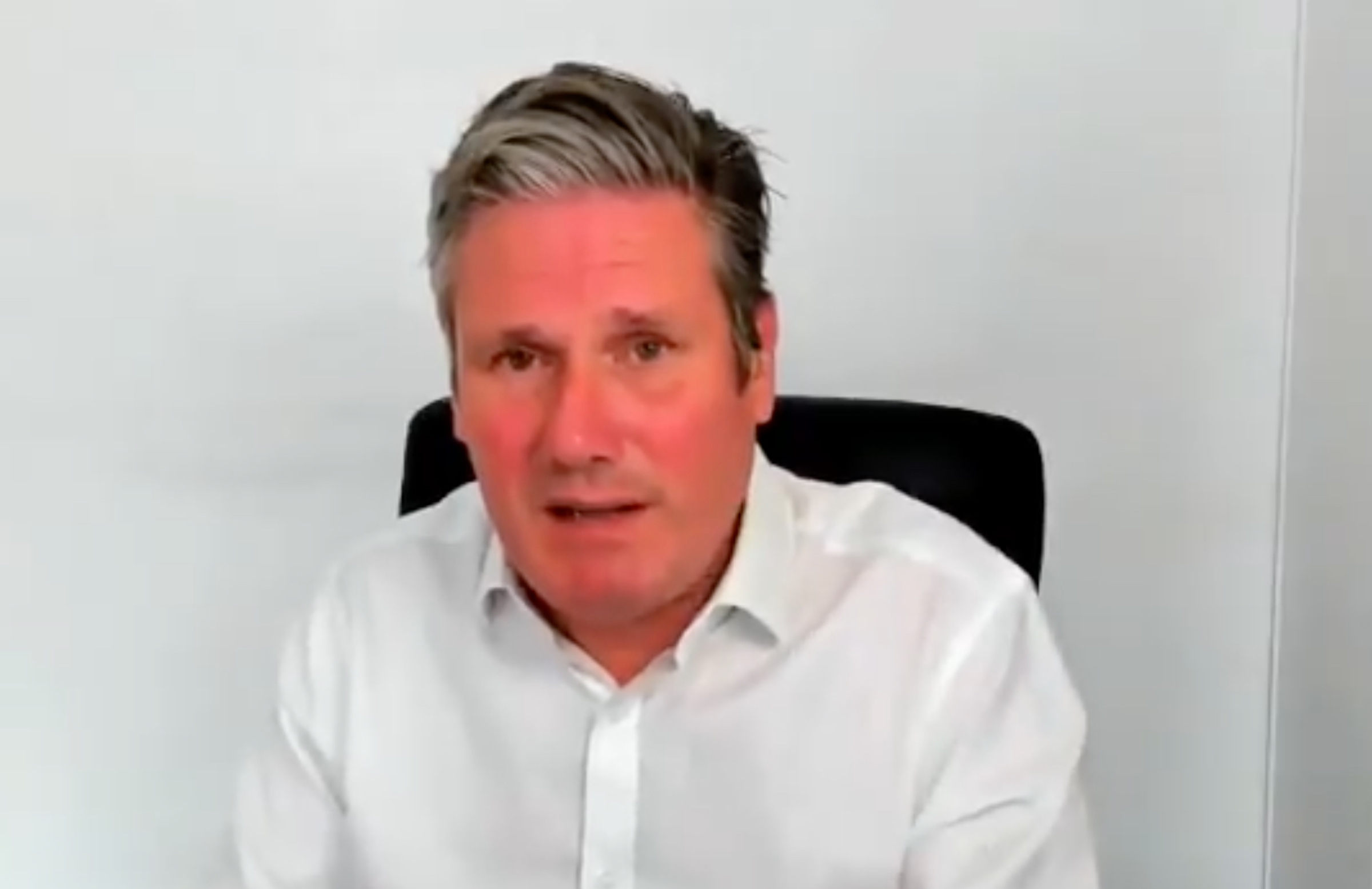 Keir Starmer, looking extremely red in the face during a BBC interview.