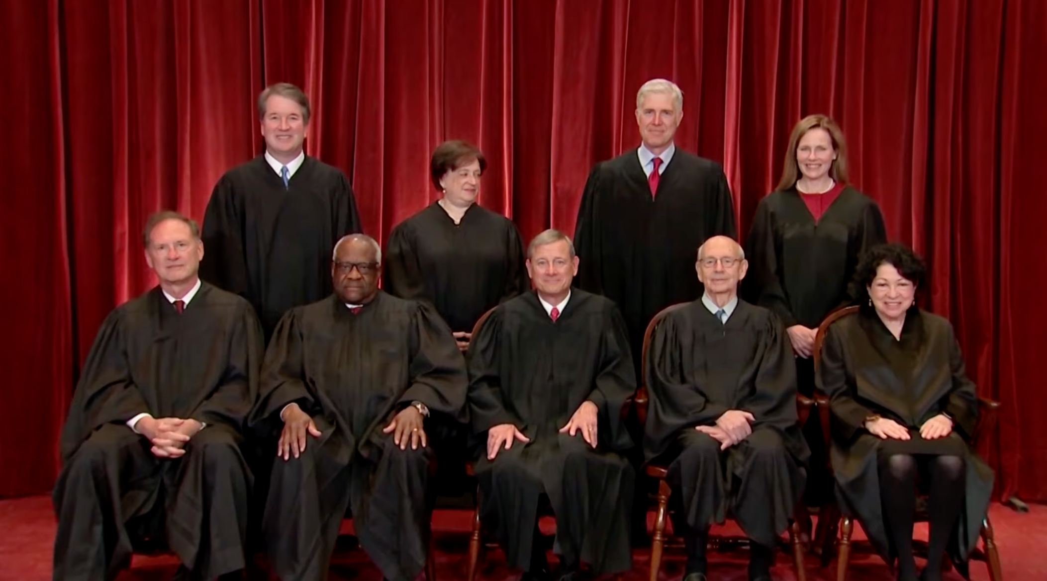 Supreme Court justices pose for their annual photo.