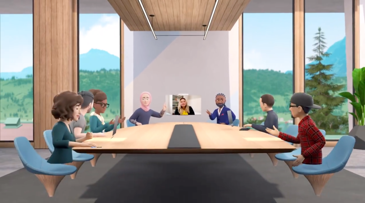 A screenshot of the Facebook Horizon Workrooms project from Oculus