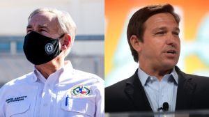 A side-by-side collage of Texas Gov. Greg Abbott wearing a mask and Florida Gov. Ron DeSantis speaking at a TPUSA summit