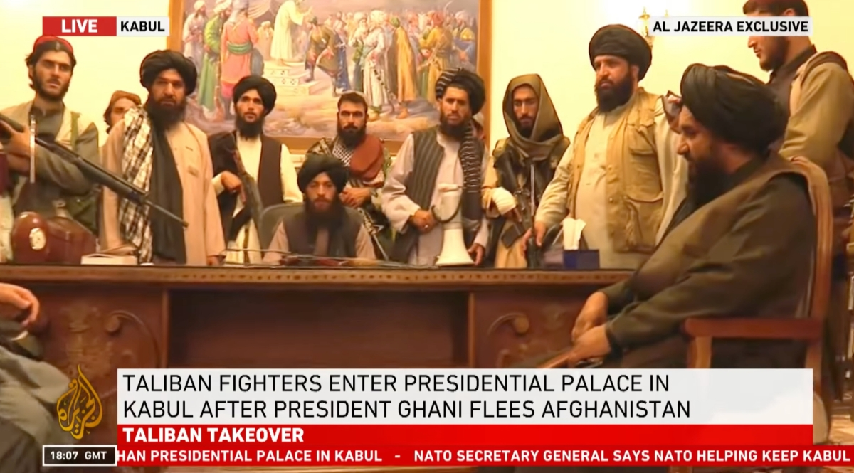 Taliban fighters occupy the presidential palace in Kabul as Afghanistan withdrawal accelerates.