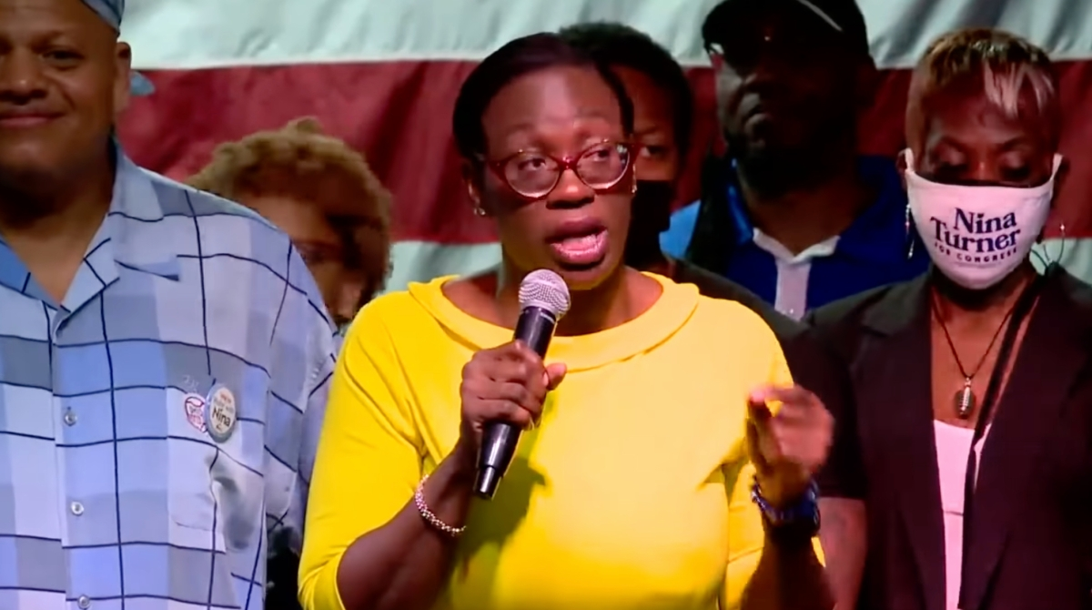 Nina Turner conceding defeat at a campaign rally in Ohio.