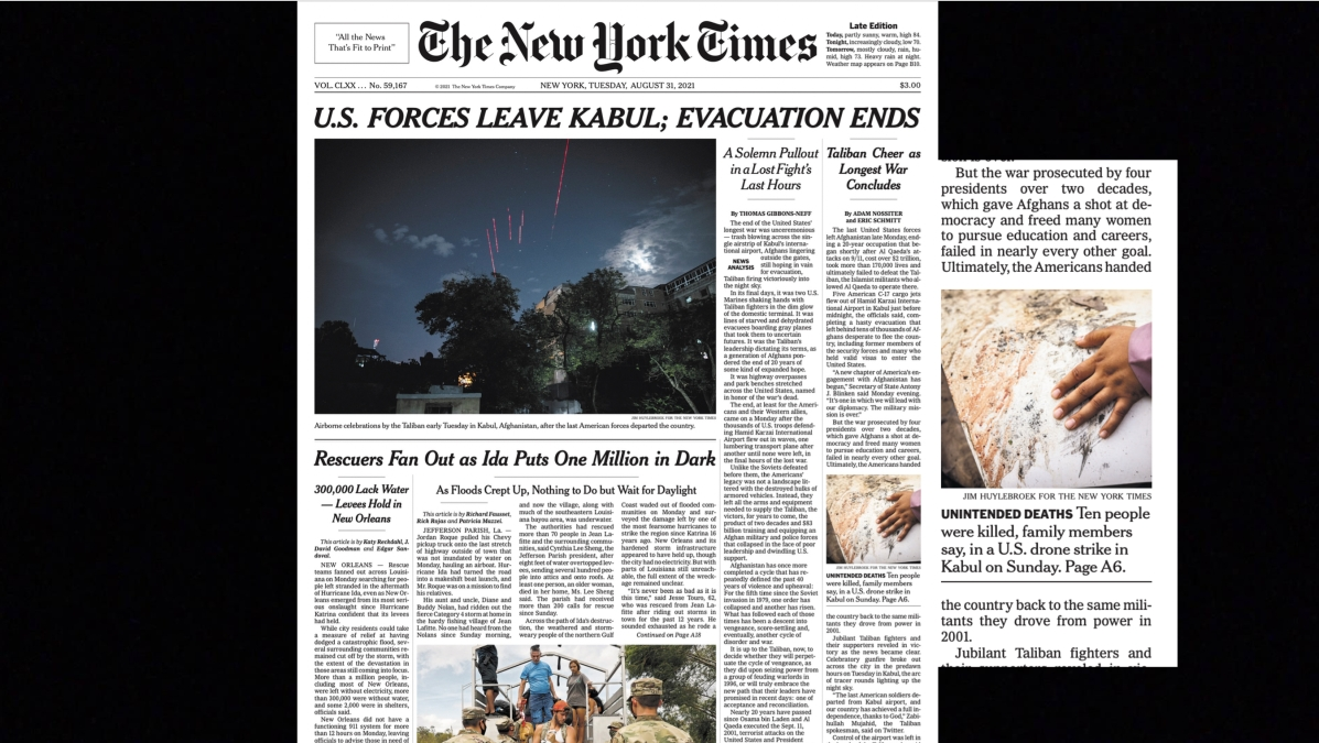 New York Times front page about the war in Afghanistan